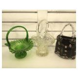 2 vintage glass baskets & 1 possible Murano glass