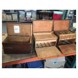 Lot of vintage wooden toolbox/tackle/equipment