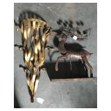 Metal hanging candle holder and metal deer candle