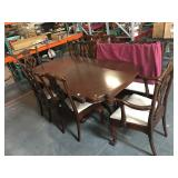 Antique claw foot dining table with 10 chairs and