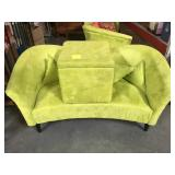 Green micro suede loveseat and ottoman with