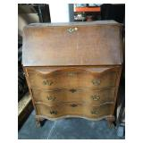 Vintage curved front claw foot secretary - needs