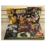 4 Marvel comic graphic novels & 1 DC graphic