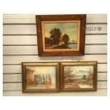 3 vintage/antique oil on board, signed by