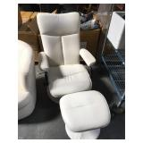 Modern white leather recliner with ottoman