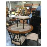 Wood table with faux stone center and 4 chairs