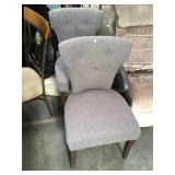 Pair of purple upholstered chairs with hobnail