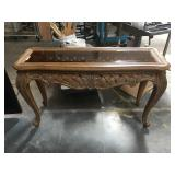 53 in long wooden hall table with smoky glass top