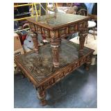 Large wooden coffee table and side table set with