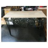 50 in long metal base faux stone top hall table