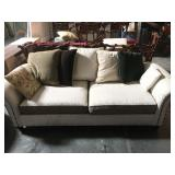 2 cushion sofa with assorted pillows - good clean