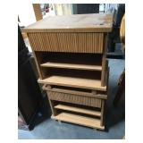 Pair of Room&Board wood and bamboo nightstands