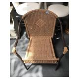 Metal and faux wicker patio chair