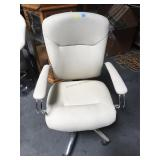 Rolling white and chrome office chair