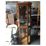 6 foot tall wood and glass corner curio cabinet