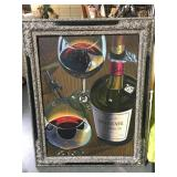Large painting on canvas wine bottle and glasses