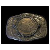 Western style belt buckle w/ 1921 Morgan Silver