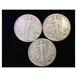 3- Liberty Walking Half Dollars m 1941, 1943 &