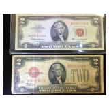 1928C & 1963  Red Label $2  US Notes
