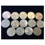 14- Sacagawea Dollars, various years