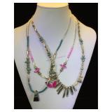 3- Southwest style necklaces, butterfly pendants