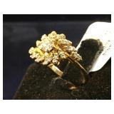 14k GOLD & Diamond ring, size 4, 2.7g