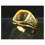 18k plated ring w/ Tigers Eye, size 8.5