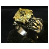 18k plated & yellow gemstone ring, size 6.5