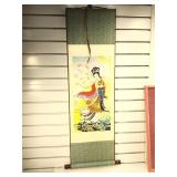 Chinese silk scroll picture, 39  by 12