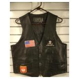 Frontier leather vest w/ patches, mens size 44
