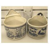 2 antique stoneware salt boxes, 1 w/ issues