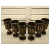 Set of 6 Grecian Spyropoulos goblets painted w/