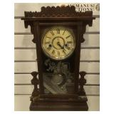 Antique Waterbury pendulum wall clock w/ key