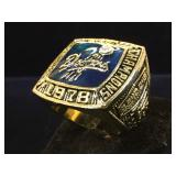 Replica, Dodgers 1978Champioship Ring, size 10