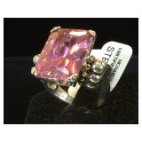 Sterling & Large pink CZ , size 6