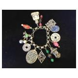 White Brass Tibetan charm bracelet