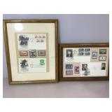 2- Framed Stamp collections, Kennedy/Johnson, &