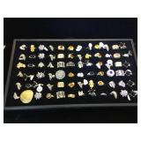 Approx. 72 Fashion rings, sizes 6,7 & 8, tray