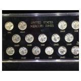 Plaque Set of 15 Silver Mercury Dimes, 1941- 1945