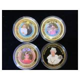1- 2014 One Crown Coin & 3- 1997 colorized