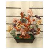 Multi gemstone prosperity tree, approx 11 1/2