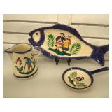 Peint Main hand painted pottery, 3 piece