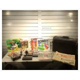 Board games, collectible Coca-Cola bottles,