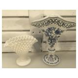 Blue Danube fan vase & hobnail milk glass fan