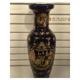 Large cobalt blue scene vase, 2 ft tall