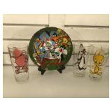 3 Loony Toons cups & collector plate