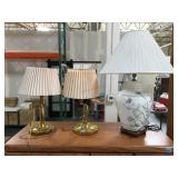 Pair of brass bridge table lamps and other lamp