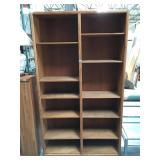 7 foot tall wooden bookshelf with shelves