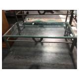 5 foot long glass top metal based coffee table