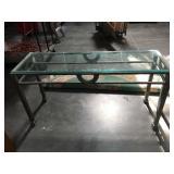 5 foot long glass top metal based hall table